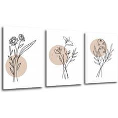 Impresi Obraz Květiny skandinávský styl - 150 x 70 cm (3 dílný)