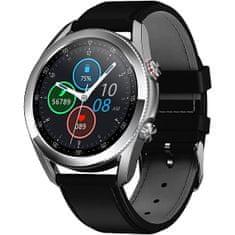 Wotchi Smartwatch W25S - Silver/Black Leather