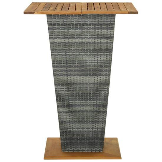 shumee szürke polyrattan és tömör akácfa bárasztal 80 x 80 x 110 cm
