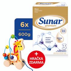 Sunar Premium 3, batolecí mléko, 6x600g