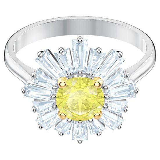 Swarovski Pôvabný kvetinový prsteň s kryštálmi Sunshine 5482701
