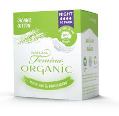 Natura Femina Organic BIO vložki s krilci, nočni, 10/1