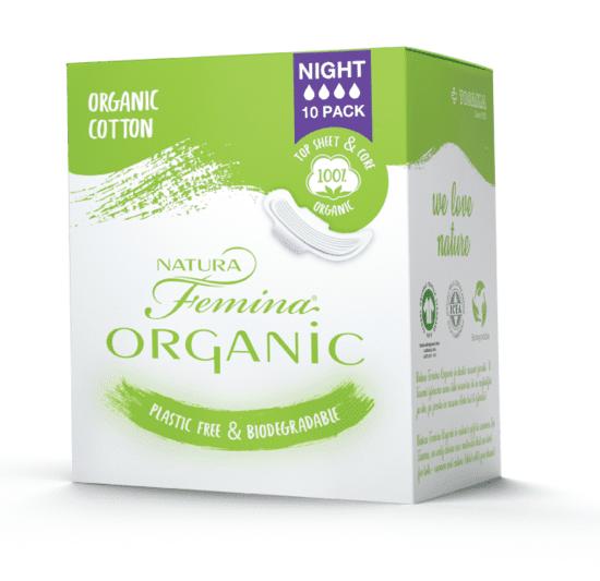 TOSAMA Natura Femina Organic BIO ulošci s krilcima, noćni, 10/1