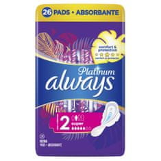 Always Platinum Super (rozmiar 2) podpaski ze skrzydełkami 26 szt.