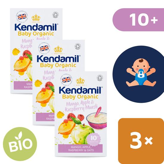 Kendamil BIO/Organická ovsená kaša s ovocím (mango, jablko, malina) – 3x 150 g