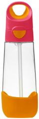 b.box Láhev na pití s brčkem růžová/ oranžová 600 ml