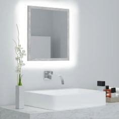 shumee Kúpeľňové LED zrkadlo betónovosivé 40x8,5x37 cm drevotrieska