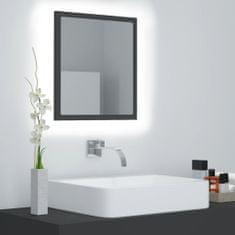 shumee Kúpeľňové LED zrkadlo sivé 40x8,5x37 cm drevotrieska