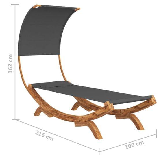 shumee Viseča mreža s streho 100x216x162 cm trden les antracitna