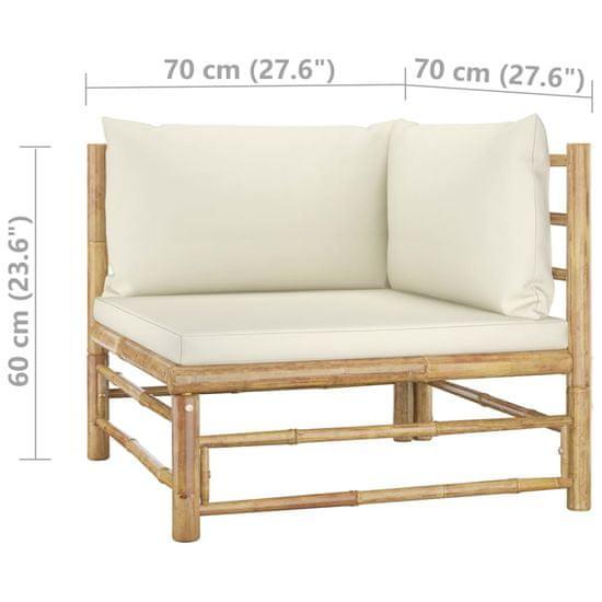 Greatstore Vrtni kotni kavč s kremno belimi blazinami bambus