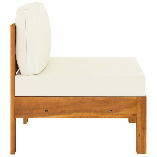 shumee 9-dielna záhradná sedacia súprava s krémovobielymi podložkami akáciové drevo