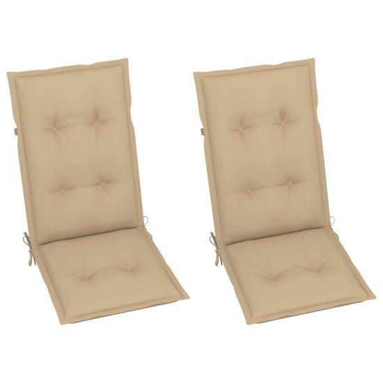 Greatstore Podložky na záhradné stoličky 2 ks béžové 120x50x7 cm