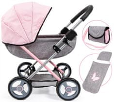 Bayer Design Cosy voziček za lutke, srebren/roza