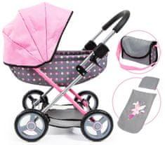 Bayer Design Cosy voziček za lutke, roza/siva