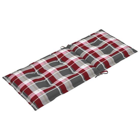 shumee Podložky na záhradné stoličky 2 ks červený kockovaný vzor 120x50x7cm