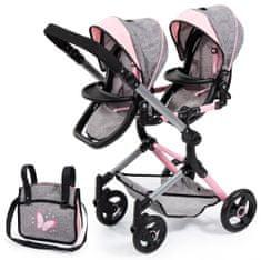 Bayer Design Twin Neo voziček za lutke, roza/siva