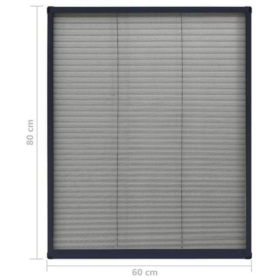 Greatstore Plisovaná okenná sieťka proti hmyzu antracitová 60x80 cm hliníková
