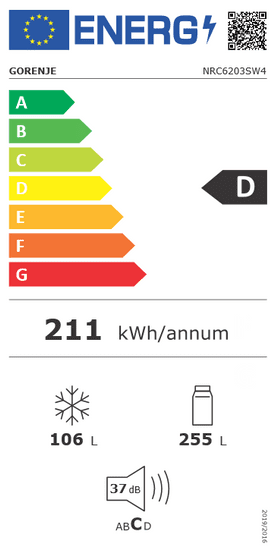 Gorenje Hűtőszekrény NRC6203SW4