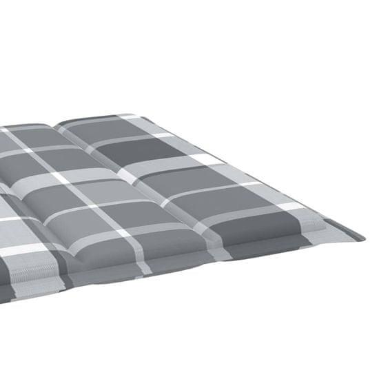 shumee Poduszka na leżak, szara krata, 200x70x4 cm, tkanina