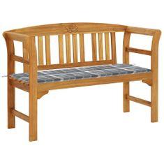 Zahradní lavice s poduškou 120 cm masivní akáciové dřevo