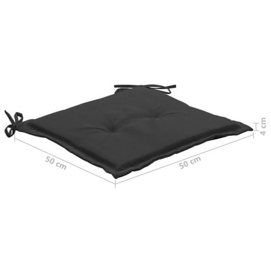 shumee 6 db fekete párna kerti székhez 50 x 50 x 4 cm
