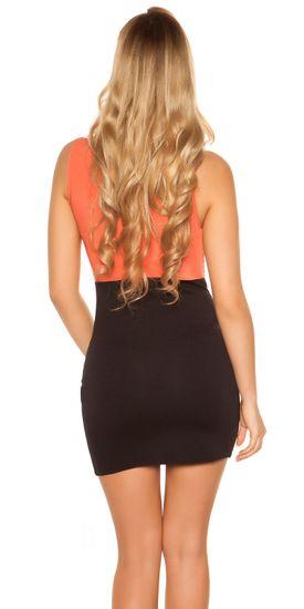 Dámske šaty 74085 + Nadkolienky Gatta Calzino Strech, korálovo-čierna, XL