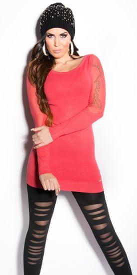 Dámsky sveter 77522, korálová, UNIVERZáLNA