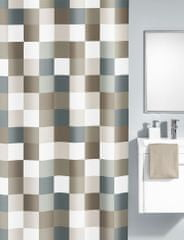 Kleine Wolke zavesa za tuš Check, 180x200 cm, rjavo sive kocke
