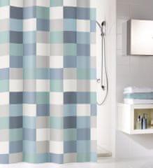 Kleine Wolke zavesa za tuš Check, modro sive kocke, 180x200 cm