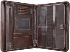 VegaLM Luxusná kožená spisovka s bohatou výbavou v tmavo hnedej farbe