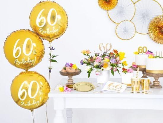 Balónik fóliový 60. narodeniny zlatý - 45cm