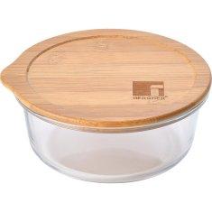 Bergner Dóza na potraviny skleněná s bambusovým víkem 0,65 l