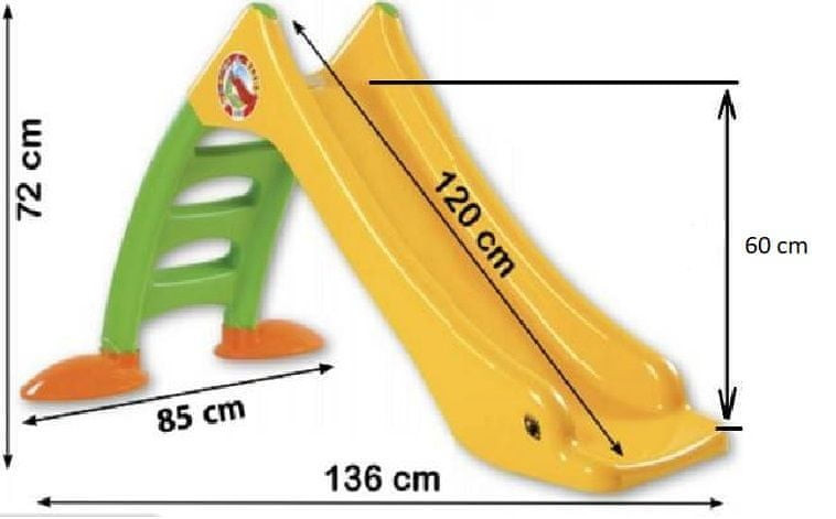 Dohany Vodní skluzavka plast žlutá 120 cm