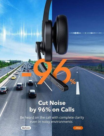 TaoTronics TT-BH041 AI Noise Canceling mono naglavna slušalka, BT + USB