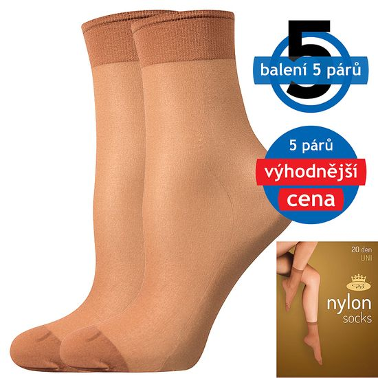 Fuski - Boma ponožky NYLON socks 20 DEN / 5 párů Barva: beige, Velikost: uni