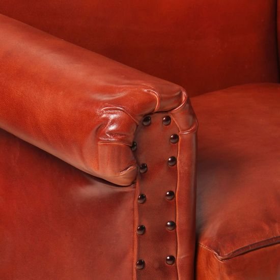 shumee sötétbarna valódi bőr fotel