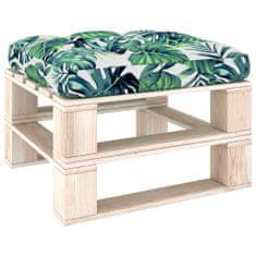 shumee Blazina za kavč iz palet z vzorcem listja 70x70x12 cm