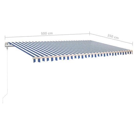 Greatstore Avtomatska tenda LED + senzor 500x350 cm modra in bela