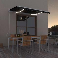 shumee Avtomatsko zložljiva tenda LED + senzor 300x250 cm antracitna