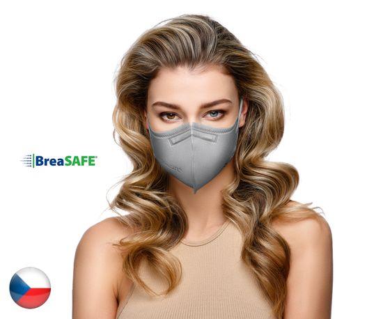 BreaSAFE® 5x Český NanoRespirátor BreaSAFE® FFP2 - Znovupoužitelný - šedý L (od 39,90 Kč/kus)