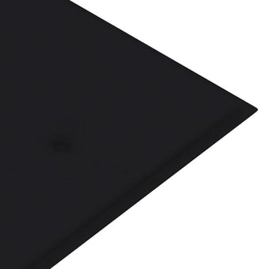 Greatstore Záhradná lavička s čiernou podložkou 150 cm tíkový masív