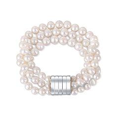 JwL Luxury Pearls Trivrstna zapestnica iz pravih belih biserov JL0668