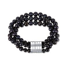 JwL Luxury Pearls Trivrstna zapestnica iz pravih črnih biserov JL0670
