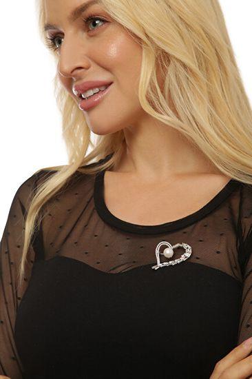 JwL Luxury Pearls Bleščeča broška asimetričnega srca s pravim biserom in kristali JL0696