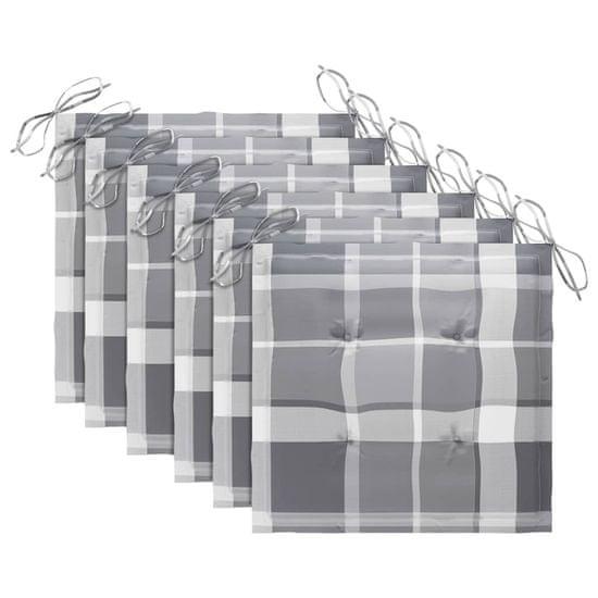 shumee vankúše na záhradnú stoličku 6 ks sivý tartan 50x50x4 cm
