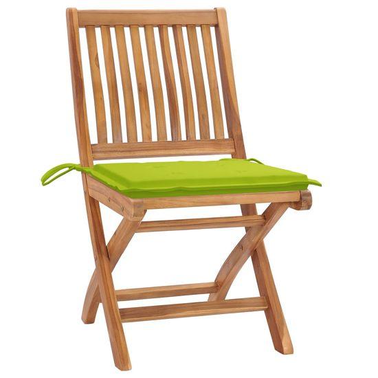 shumee Vrtni stoli 2 kosa s svetlo zelenimi blazinami trdna tikovina