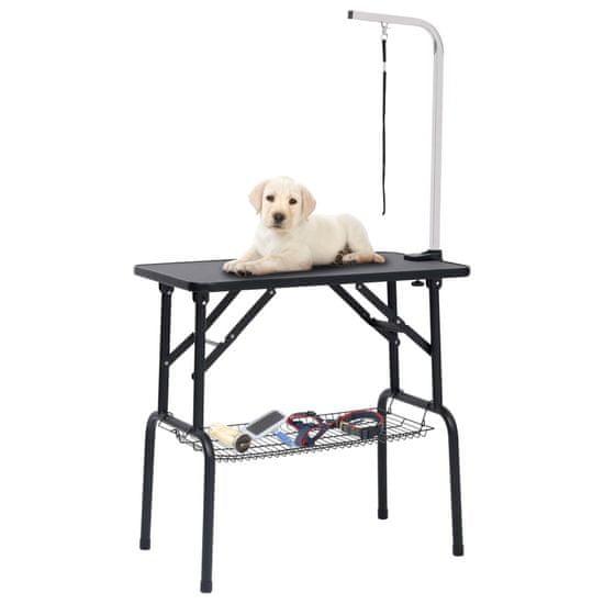 shumee állítható kutyakozmetikai asztal 1 hurokkal és kosárral
