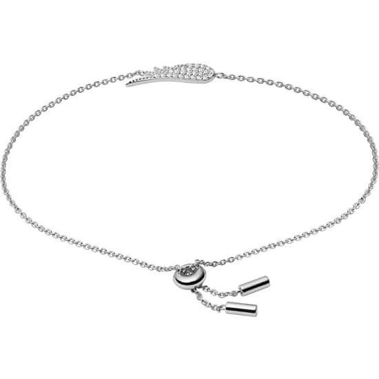 Fossil Něžný stříbrný náramek s krystaly Andělské křídlo JFS00534040