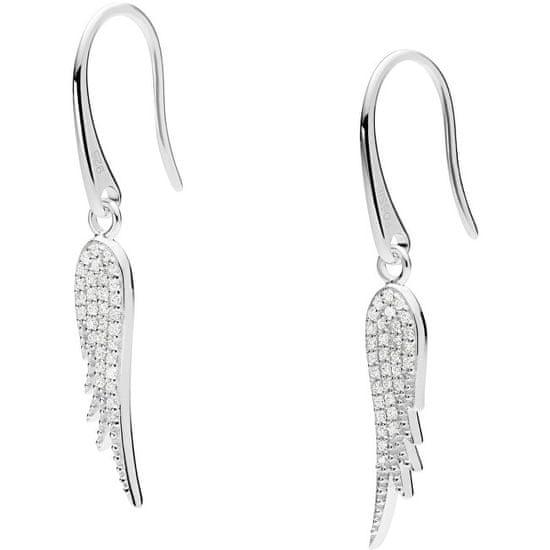 Fossil Něžné stříbrné náušnice s krystaly Andělská křídla JFS00533040