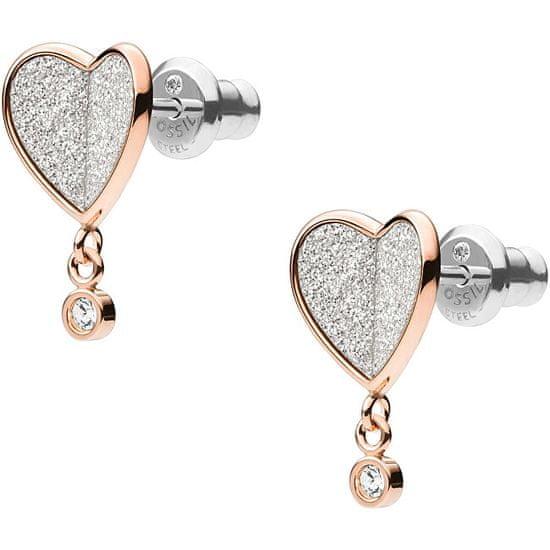 Fossil Třpytivé růžově zlacené ocelové náušnice srdce Vintage Glitz JF03646791